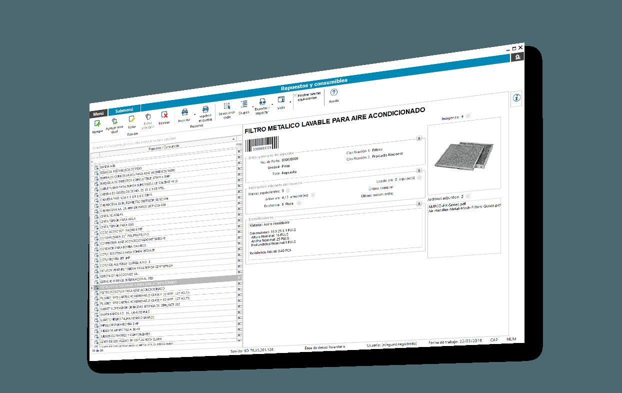 catálogo de repuestos y consumibles del sistema de inventario